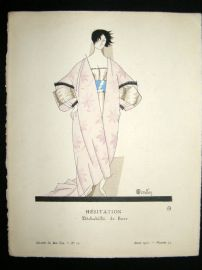 Gazette du Bon Ton by Charles Martin 1920 Art Deco Pochoir. Hesitation